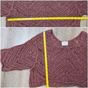 Lush Tops - Lush Pink Crochet Crop Top size M
